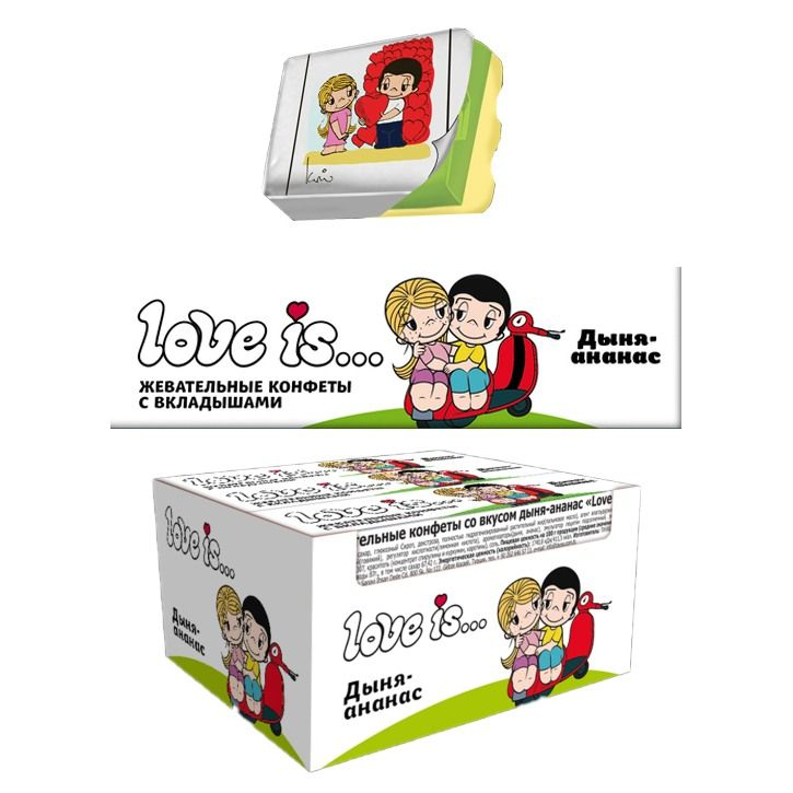 Фото - Coris Co. Жевательная конфета Love is... со вкусом Дыни-ананаса батончики глазированные guarchibao pro snack со вкусом ананаса 5 шт