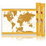 Скретч-карта мира Премиум (Желтая)