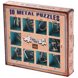 Набор из 10 металлических головоломок (синий)